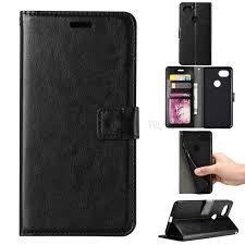 btrcase crazy horse leather wallet case for google pixel 2 xl black 1