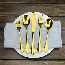 Gold Flatware Set Luxury Rose Gold Cutlery Set Stainless Steel Dinner Spoon  Knife Fork Tableware For Home Kitchen Restaurant White Porcelain Dinnerware  Sets ...