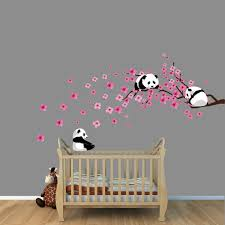 panda cherry tree wall decals by nursery decalore