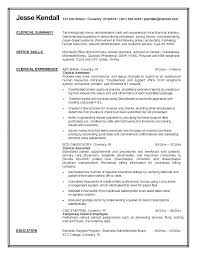 Resume For Clerical Position Clerical Resume Template Didex Me