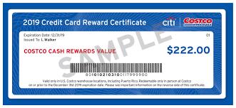 costco cash rewards certificate image credit citi