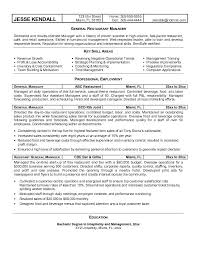 Restaurant Resume Objectives 10 Accounting Internship Sample For