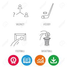 Football Ice Hockey And Basketball Icons Vacancy Linear Sign