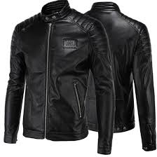 men s leather jacket simplified locomotive korean version collar size fur coat man