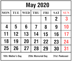 May 2020 Calendar Printable April Calendar Template