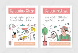Flyer Poster Templates Bundle Of Flyer Or Poster Templates With Gardener In Hat Watering