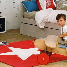 bedroom kids furniture in red theme with divan bed made of