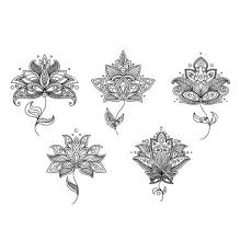 Black And White Floral Motifs Of Persian Style Vector Lotus Henna