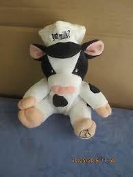 plush cow got milk white black