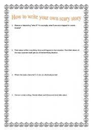 worksheet how to write a scary story english worksheet how to write a scary story