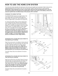 Weider 8530 Weight Chart How To Use The Home Gym System Weider 8530 User Manual