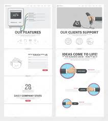 Company Portfolio Template Two Page Website Design Template With Concept Icons And Avatars For 10