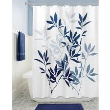 com interdesign leaves soft fabric shower curtain 72 x 72 navy slate blue home kitchen