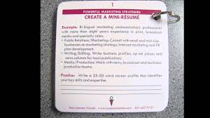 Mini Resume Business Card Youtube