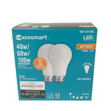 2 Way Light Bulb Ecosmart 40 60 100 Watt Equiv A19 3 Way Led Light Bulb Soft White 2 Pack C5a1