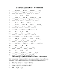 balancing equations all grade science classes practice worksheet