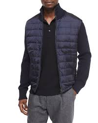 Moncler Mixed Media Quilted Jacket, Navy &  Adamdwight.com
