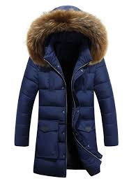 large pocket faux fur hooded padded coat deep blue l