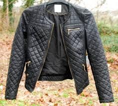jacket leather black gold zip zara white