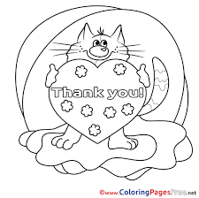 Small Picture Cat Heart Kids Thank You Coloring Pages