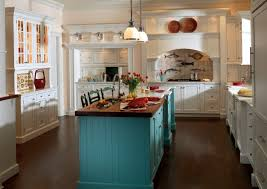 cottage pendant lighting. Charming Home Ideas With Country Cottage Kitchen Designs: White Cabinets And Teal Island Pendant Lighting R