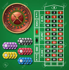 roulette and table with chips vector set ilration design roulette table for