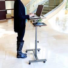 laptop desk mobile table cart stand portable computer rolling adjule side