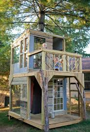 Decorating treehouses, designs for kids Two floor treehouse design with  large windows and open decks ...