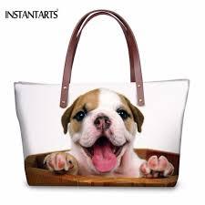 French Designer Tote Bags Us 23 99 40 Off Instantarts Funny 3d Animal French Bulldog Dog Printed Women Large Tote Bags Fashion Shoulder Bag Brand Designer Female Handbags In