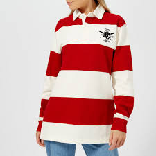 polo ralph lauren women s patch rugby shirt red deckwash white image 1