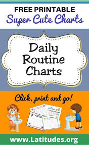 016 Daily Activity Chart Template Ideas Routine Charts