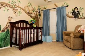 Adorable Trees Sticker Wall Decals Added Dark Brown Convertible Crib And  Brown Oversize Chair As Well As Double Blue Window Curtain In Baby Boy  Rooms Ideas