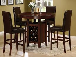 traditional country style dining room round shaped high top kitchen tables dark brown solid wood finish table with wine storage 4 pieces leather upholstered