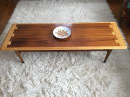 walnut oak coffee table by lane from the acclaim series c 1962