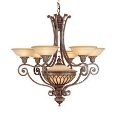 stirling castle 6 light chandelier in a bronze finish with co ordinating glass shades feiss fe stirlingcas6