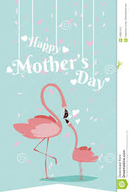 Mother S Day Graphic Design Happy Mothers Day Flamingo Cartoon Stock Vector