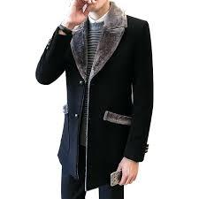 mens trench coat with fur collar fur collar trench coat men wool blend winter coat slim
