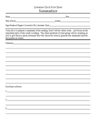 literature circle summarizer role sheet by ted persinger tpt literature circle summarizer role sheet