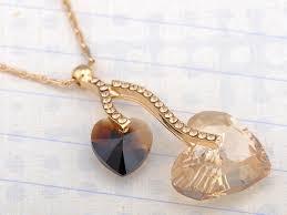 light peach smoked topaz double hearts fruit swarovski crystal element necklace