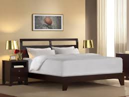 bed frame  low profile walnut wood platform bed with headboard