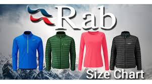 Rab Clothing Size Charts