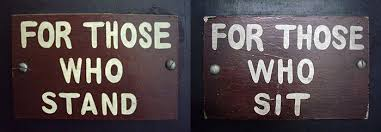 clever bathroom signs. standing and sitting bathroom sign clever signs