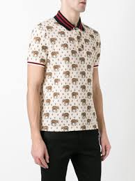 gucci polo. gucci elephant print polo shirt