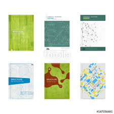 set of book cover designs abstract geometric and science patterns a4 format layout