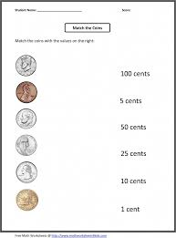 Grade Free 1st Grade Worksheets   Match The Coins And Its Values ...