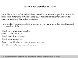 Free Work Experience Bar Waiter Experience Letter