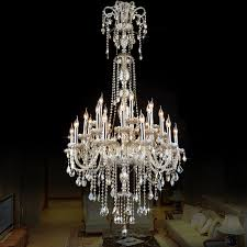 european style crystal lamp modern living room simple candle light large complex villa project staircase chandelier