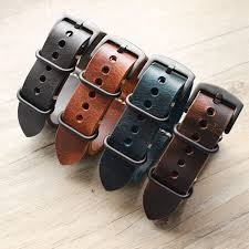new carty replacement watch strap handmade crazy horse leather watch band 22mm 20mm 24mm zulu nato black brown blue watch strap