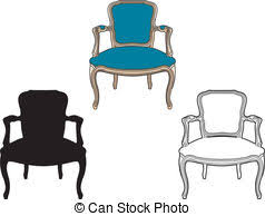 armchair clipart. style armchair blue - drawing and a shadow clipart