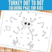 Turkey Dot To Dot Coloring Page For Little Ones Trail Of Colors